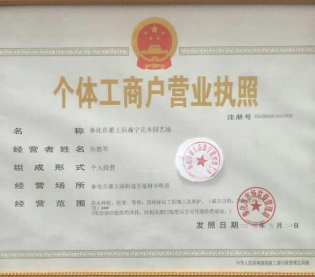 奉化市萧王庙森宁花木园艺场