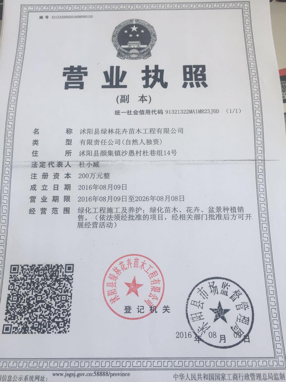 沭阳县绿林花卉苗木工程有限公司