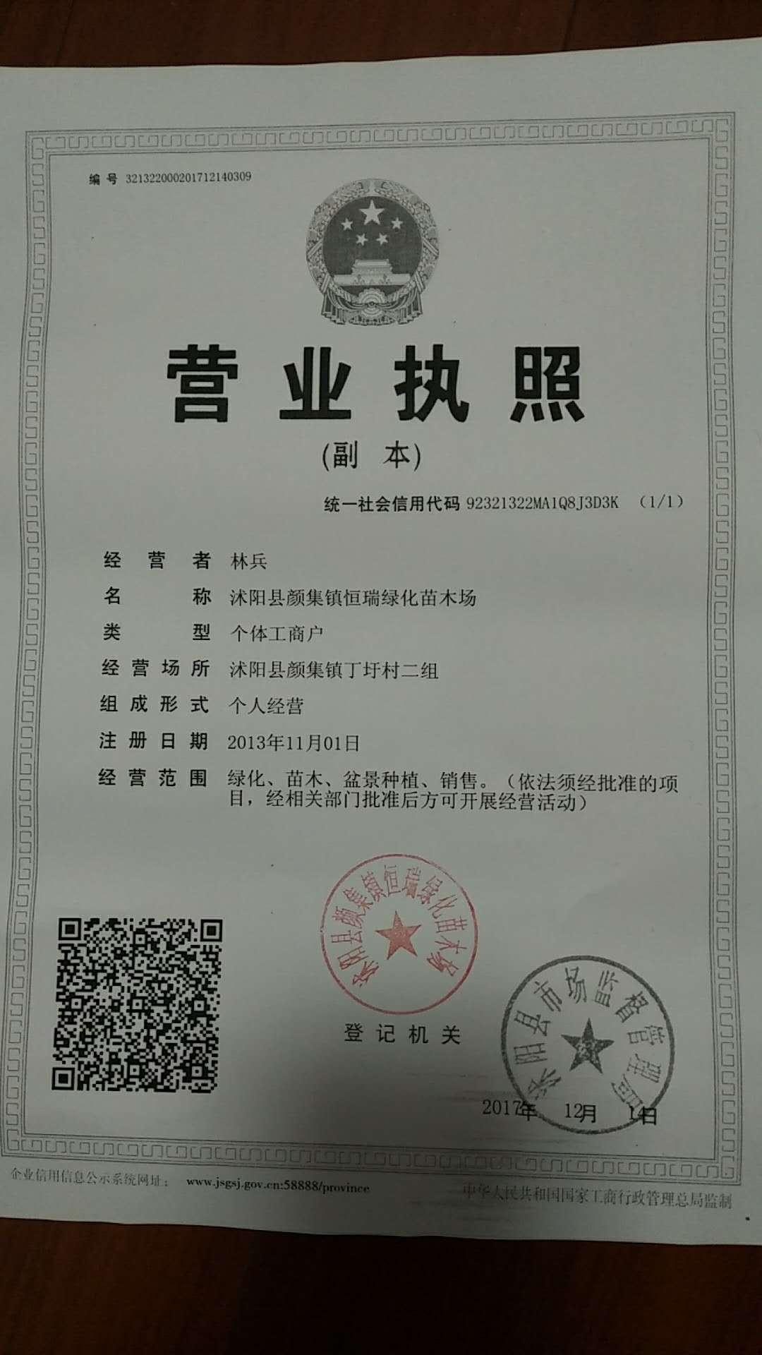沭阳县颜集镇恒瑞绿化苗木场