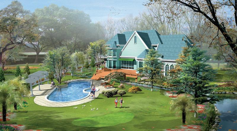 上海西郊庄园别墅景观设计-中国园林企业网