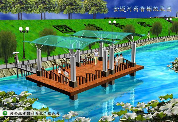 濮阳金堤河公园景点设计-荷香水榭