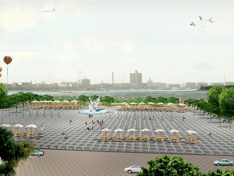 欧式喷泉广场效果图-佳木斯市沿江公园规划景观设计