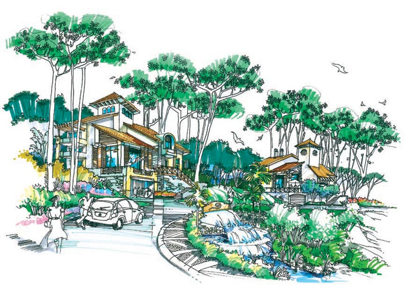 [手绘图展]朱家尖度假村景观效果图   手绘表现; 朱家尖度假村景观