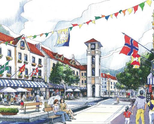 将分为如下功能区:商业街; 欧式商业街景观;